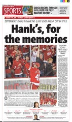 The Detroit Free Press sports front the day after Henrik Zetterberg closed out Joe Louis Arena with a goal in his 1,000th game.