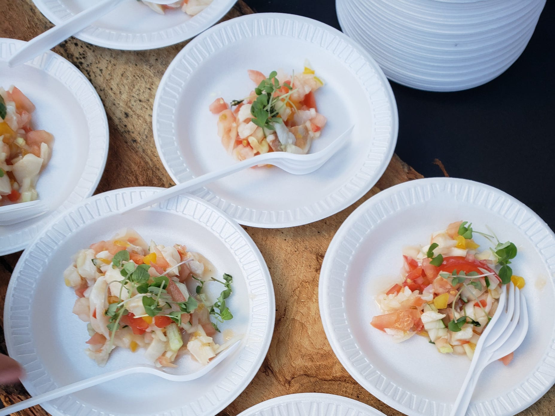 River Bistro in Grandmont Rosedale provided a fresh tasting conch salad with a Caribbean flare at the Detroit Free Press Wine & Food Experience on Sept. 15, 2018 in Detroit.