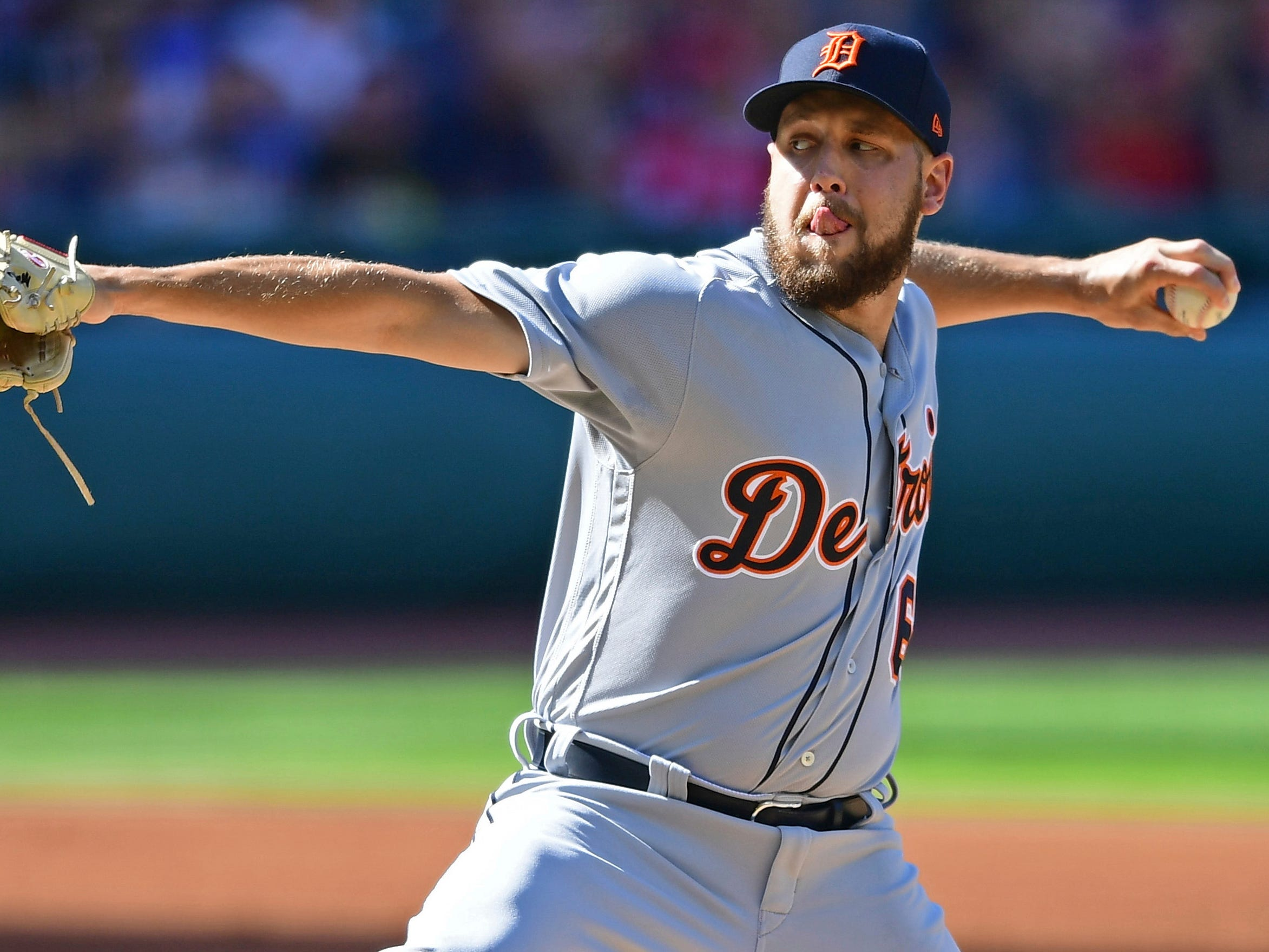 Tigers pitcher Matt Hall delivers in the first inning on Saturday, Sept.15, 2018, in Cleveland.