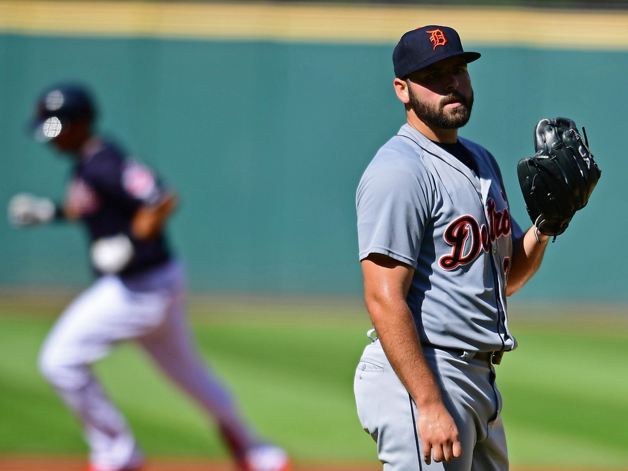 Tigers pitcher Michael Fulmer waits for Indians right fielder Michael Brantley to run the bases after hitting a solo home run in the first inning on Saturday, Sept.15, 2018, in Cleveland.