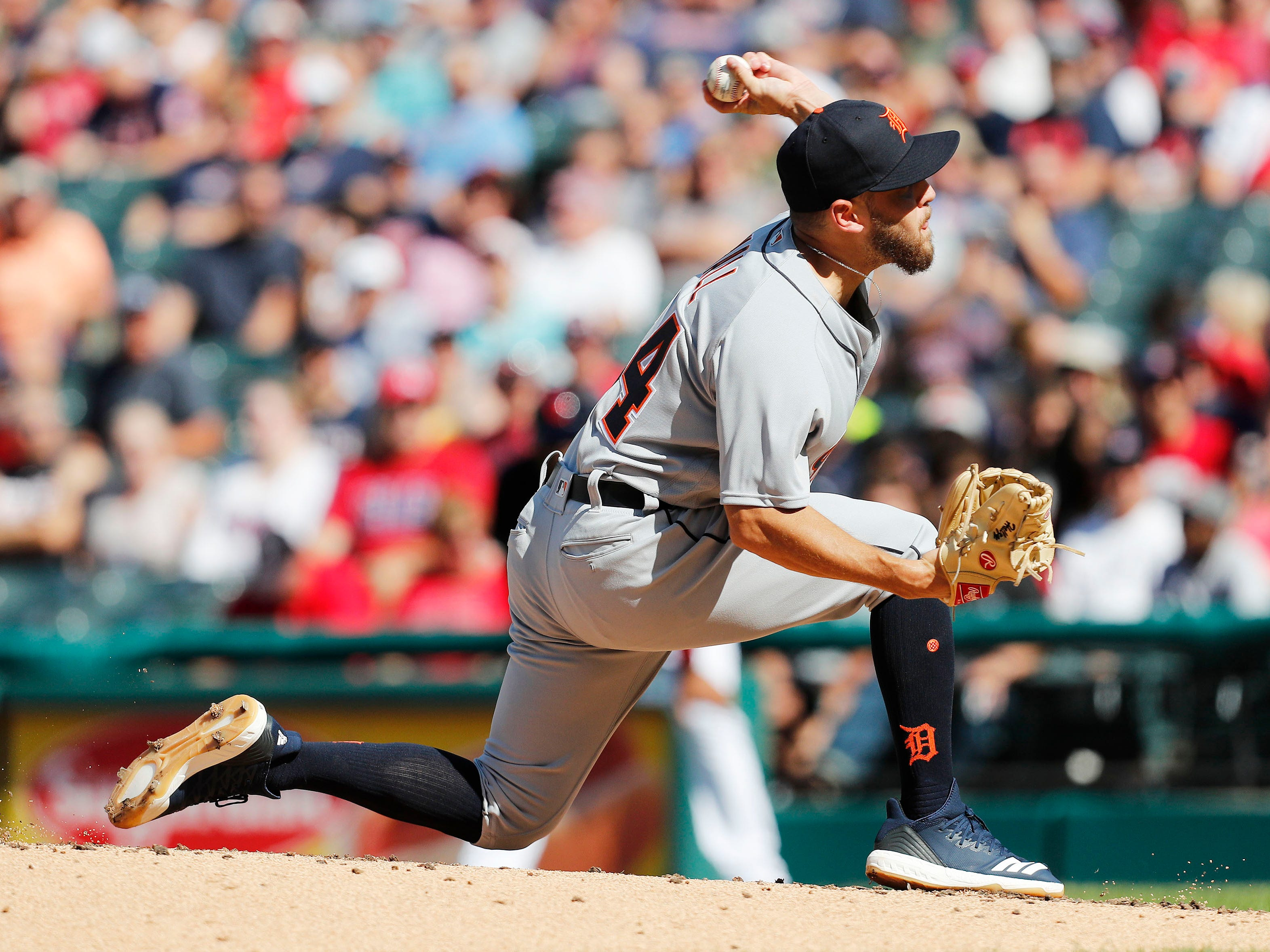 Tigers pitcher Matt Hall pitches against the Cleveland Indians during the first inning on Saturday, Sept.15, 2018, in Cleveland.