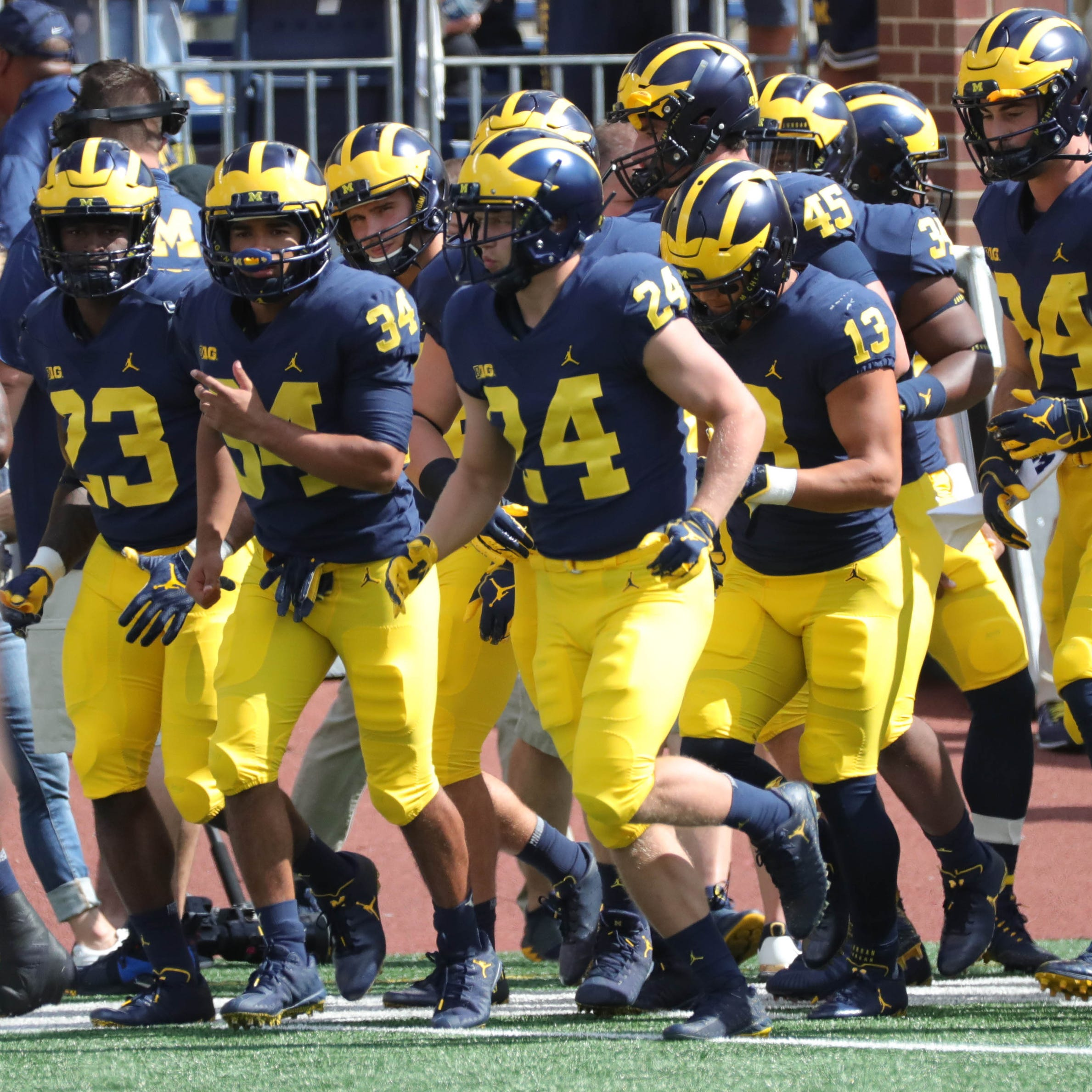 Michigan takes the field before the game against SMU on Saturday, September 15, 2018 in Ann Arbor.