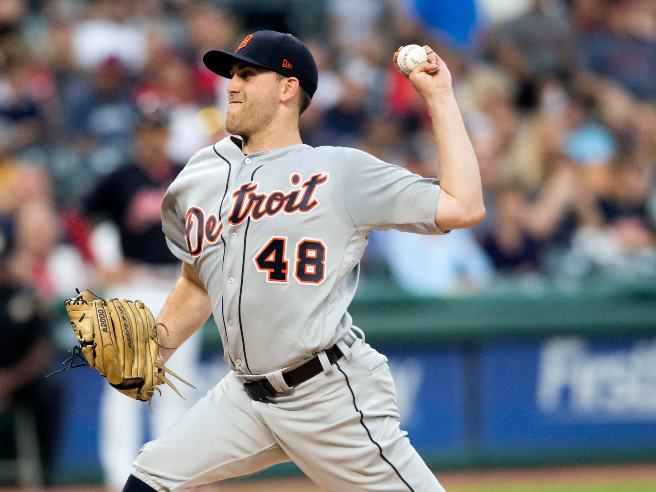 Detroit Tigers starting pitcher Matthew Boyd throws a pitch during the first inning against the Cleveland Indians at Progressive Field, Friday, Sept. 14, 2018, in Cleveland.