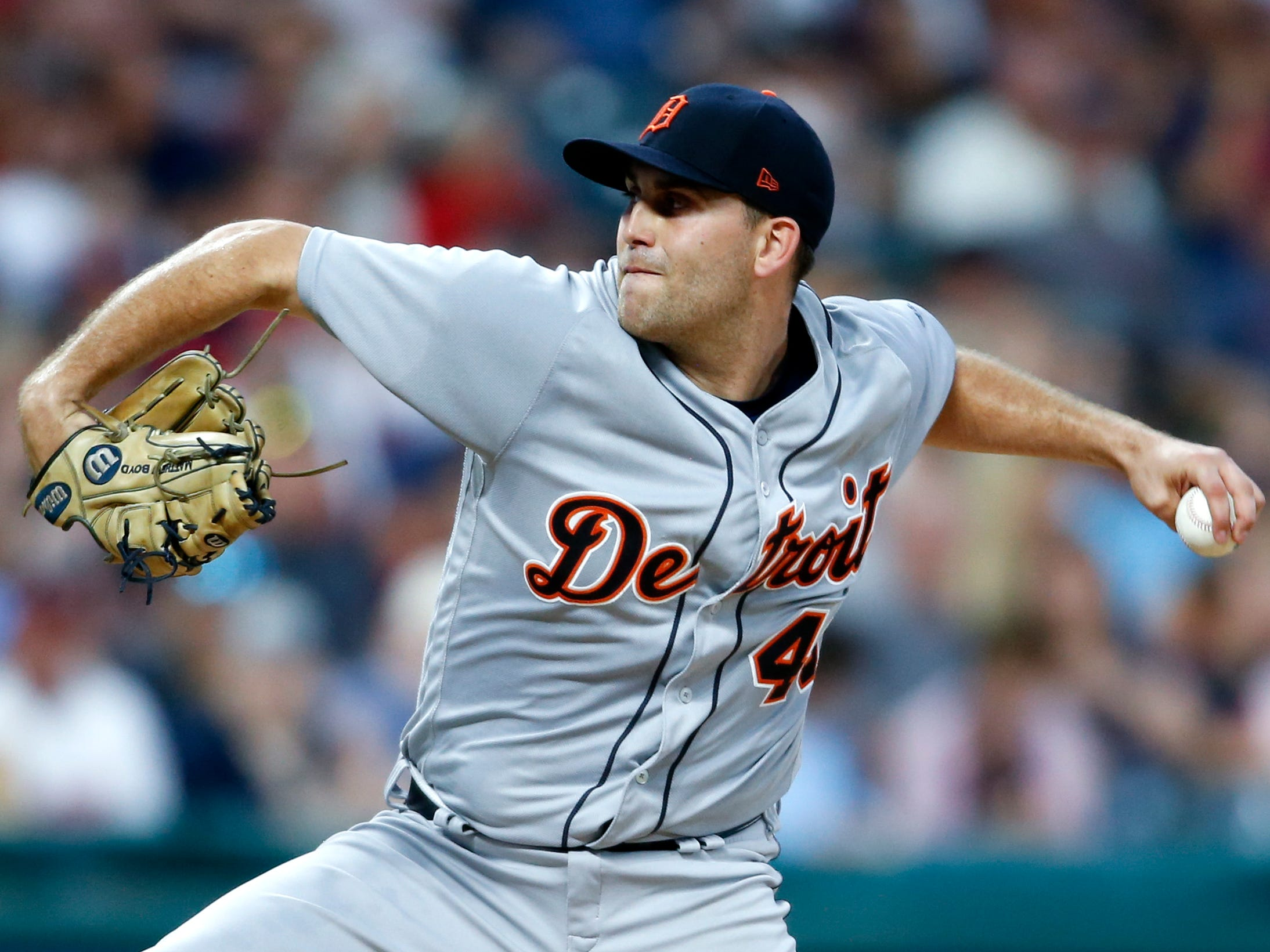 Detroit Tigers starting pitcher Matthew Boyd delivers against the Cleveland Indians during the second inning of a baseball game, Friday, Sept. 14, 2018, in Cleveland.