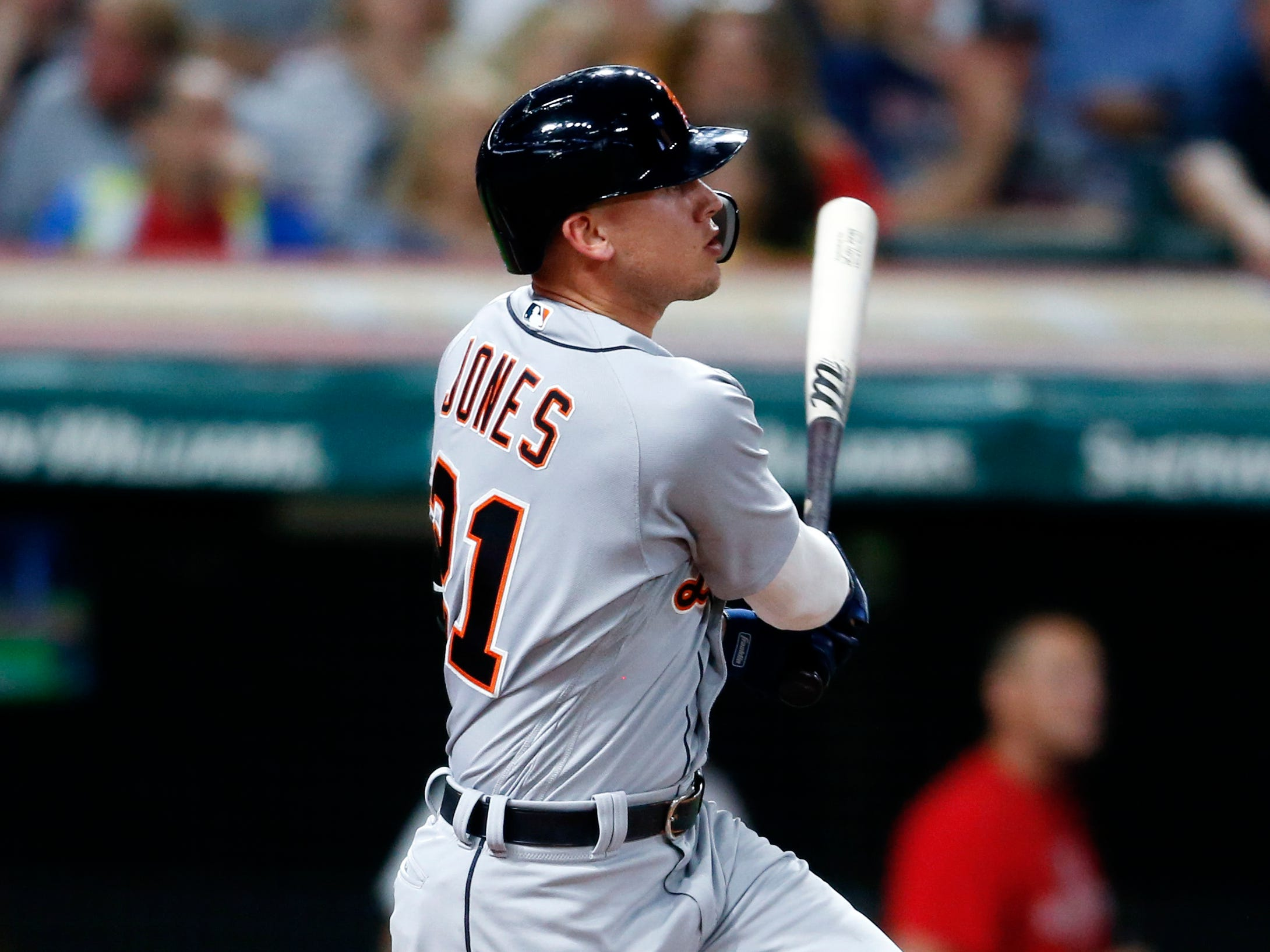 Detroit Tigers' JaCoby Jones hits a one-run double off Cleveland Indians starting pitcher Josh Tomlin during the fourth inning of a baseball game, Friday, Sept. 14, 2018, in Cleveland.