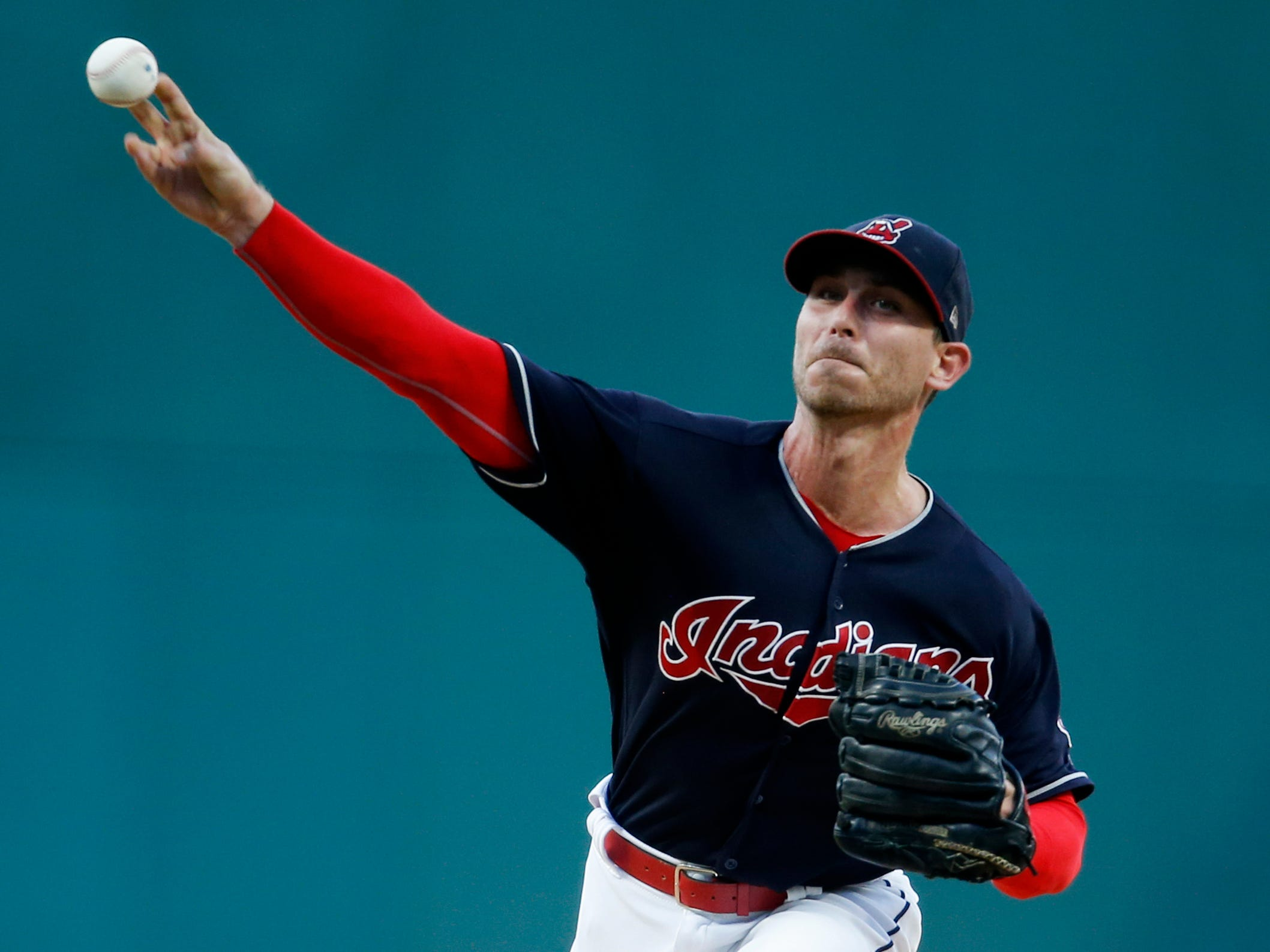 Cleveland Indians starting pitcher Josh Tomlin delivers against the Detroit Tigers during the first inning of a baseball game, Friday, Sept. 14, 2018, in Cleveland.