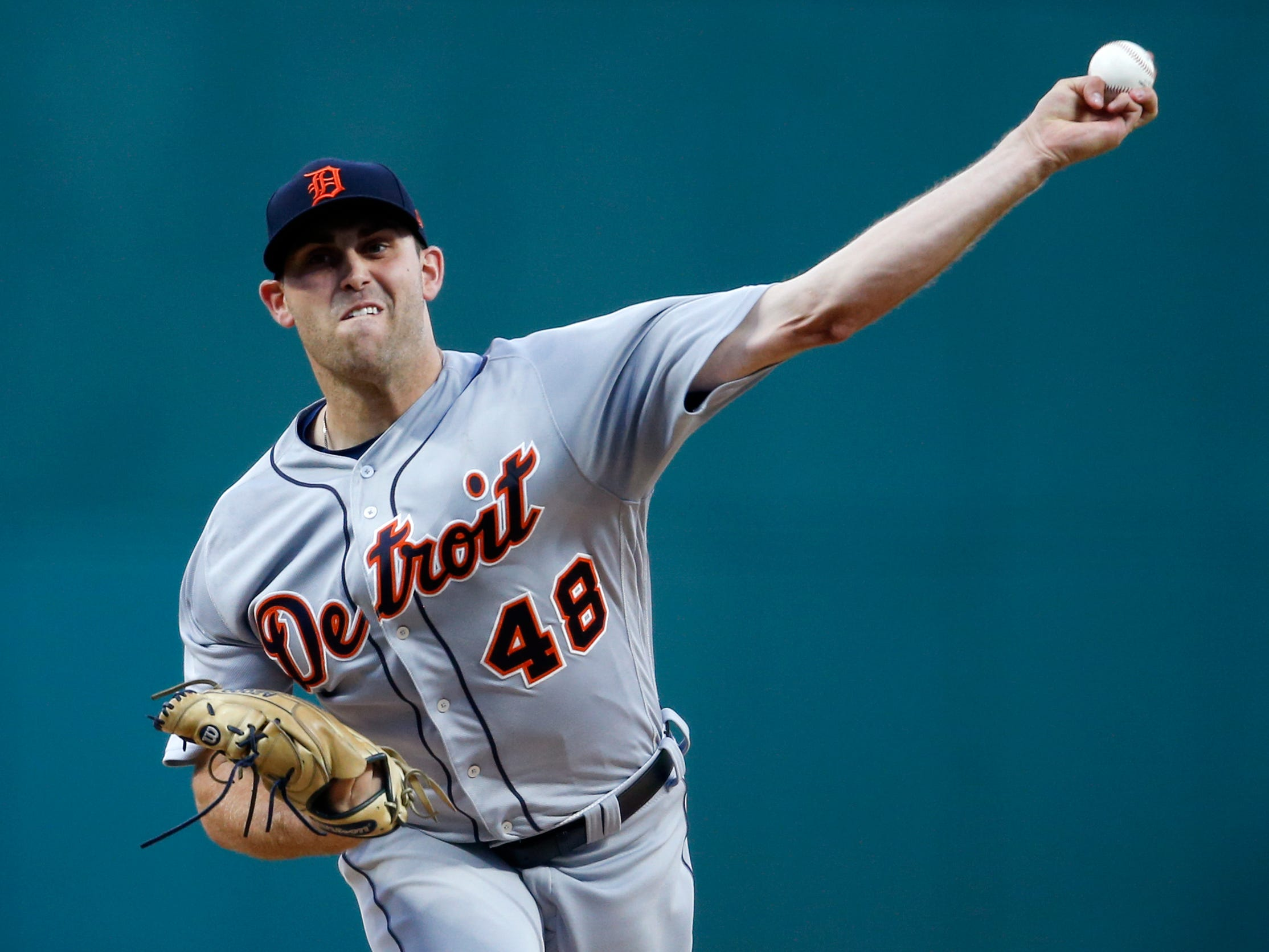 Detroit Tigers starting pitcher Matthew Boyd delivers against the Cleveland Indians during the first inning of a baseball game, Friday, Sept. 14, 2018, in Cleveland.