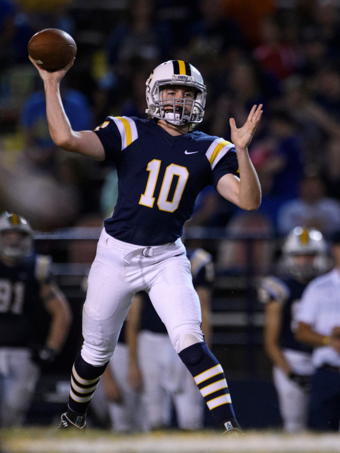 Cameron Justus (10) has a 3-0 record as Castle's starting quarterback entering the Knights' regular season finale against Memorial Friday at Enlow Field.