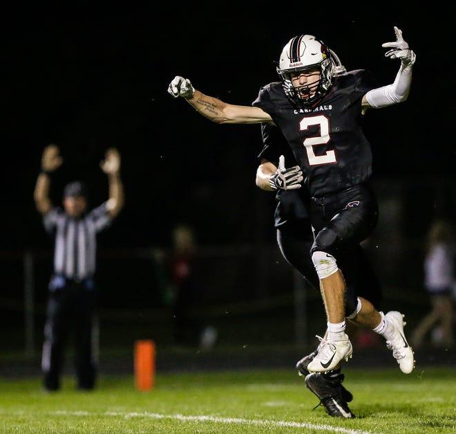 Fond du Lac's Eben Sauer celebrates a touchdown against Hortonville on Friday. No. 1 Fond du Lac won 63-20.