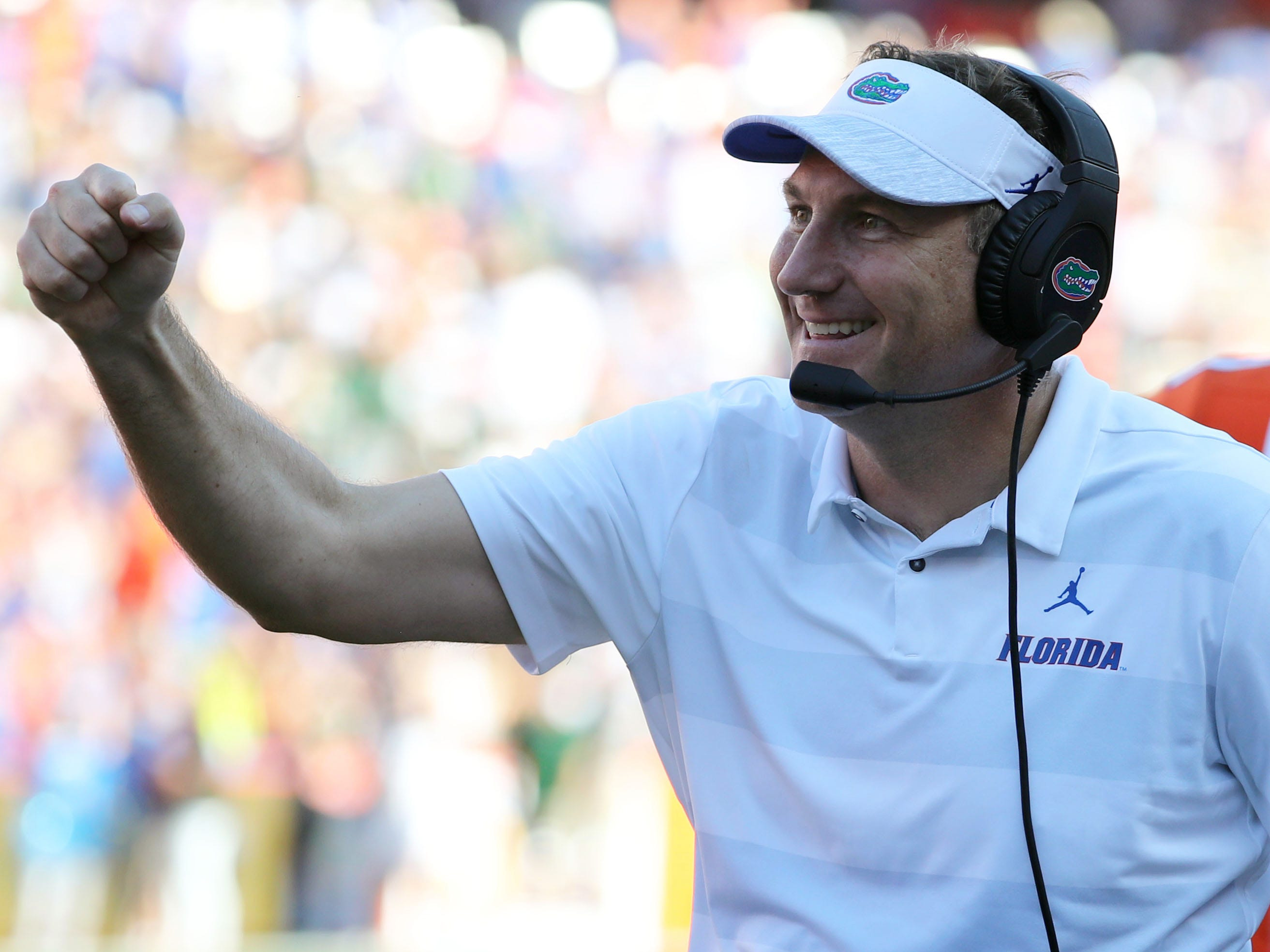 Sep 15, 2018; Gainesville, FL, USA;Florida Gators head coach Dan Mullen pumps his fist as they made a touchdown against the Colorado State Rams  during the second quarter at Ben Hill Griffin Stadium. Mandatory Credit: Kim Klement-USA TODAY Sports