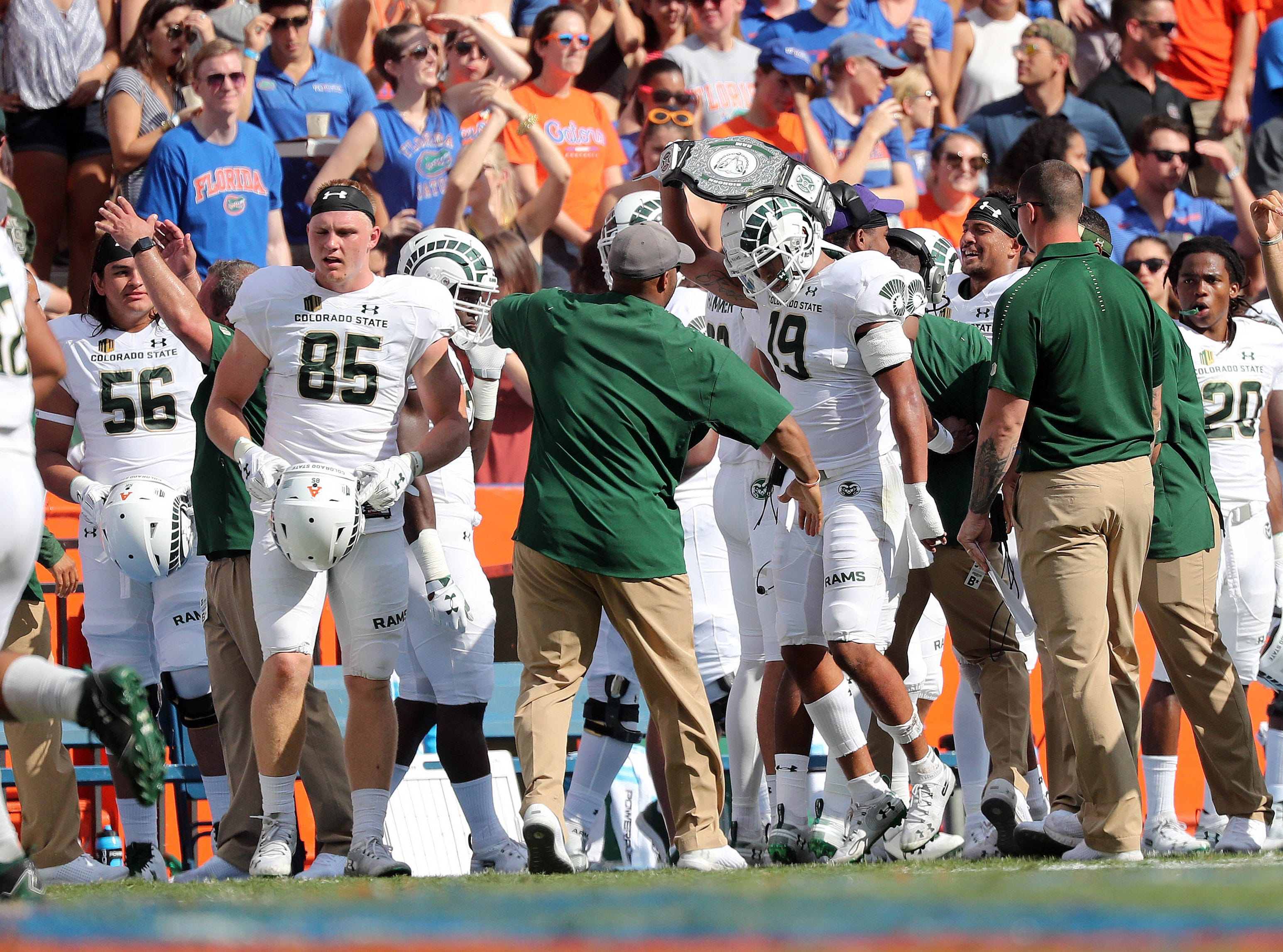Sep 15, 2018; Gainesville, FL, USA; Colorado State Rams cornerback V.J. Banks (19) celebrates after intercepting a pass against the Florida Gators during the first quarter at Ben Hill Griffin Stadium. Mandatory Credit: Kim Klement-USA TODAY Sports