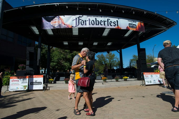 Don Jesik and Juanita Cisneros dance to The Symbols, performing on the Choice Organics stage during Fortoberfest 2018 on Saturday, Sept. 15, 2018, at Old Town Square in Fort Collins, Colo.