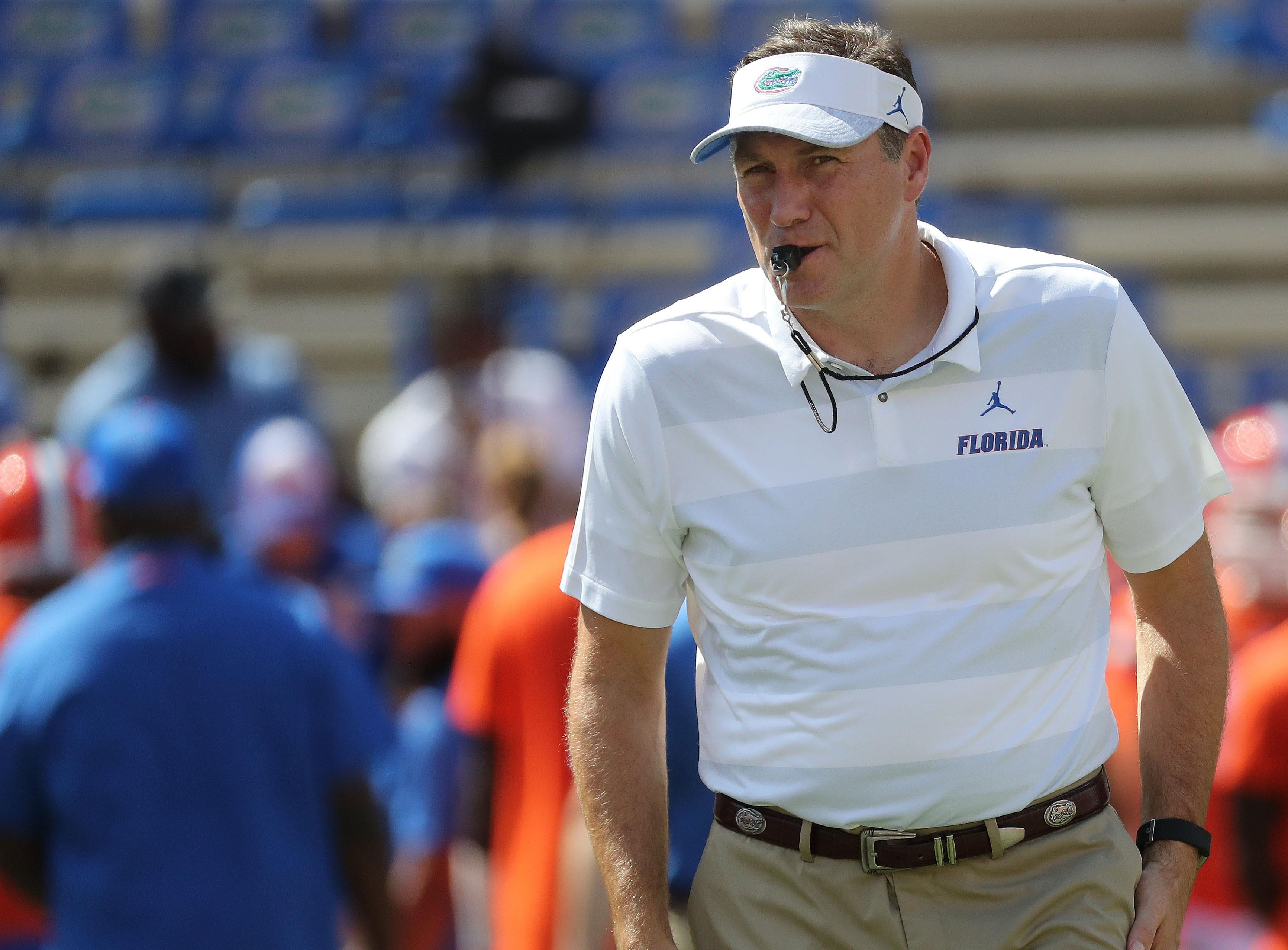 Sep 15, 2018; Gainesville, FL, USA; Florida Gators head coach Dan Mullen prior to the game against the Colorado State Rams at Ben Hill Griffin Stadium. Mandatory Credit: Kim Klement-USA TODAY Sports