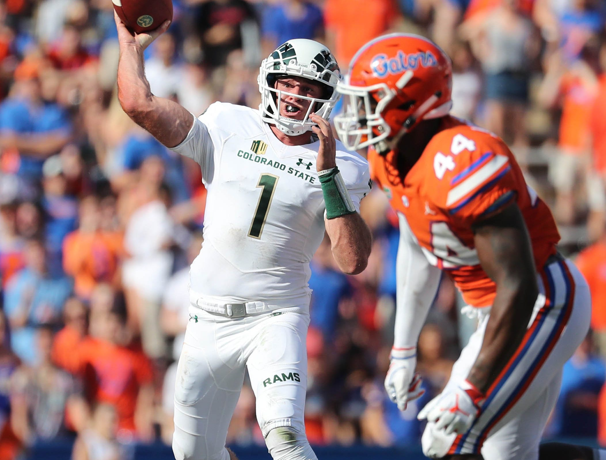 Sep 15, 2018; Gainesville, FL, USA; Colorado State Rams quarterback K.J. Carta-Samuels (1) throws the ball against the Florida Gators during the second quarter at Ben Hill Griffin Stadium. Mandatory Credit: Kim Klement-USA TODAY Sports