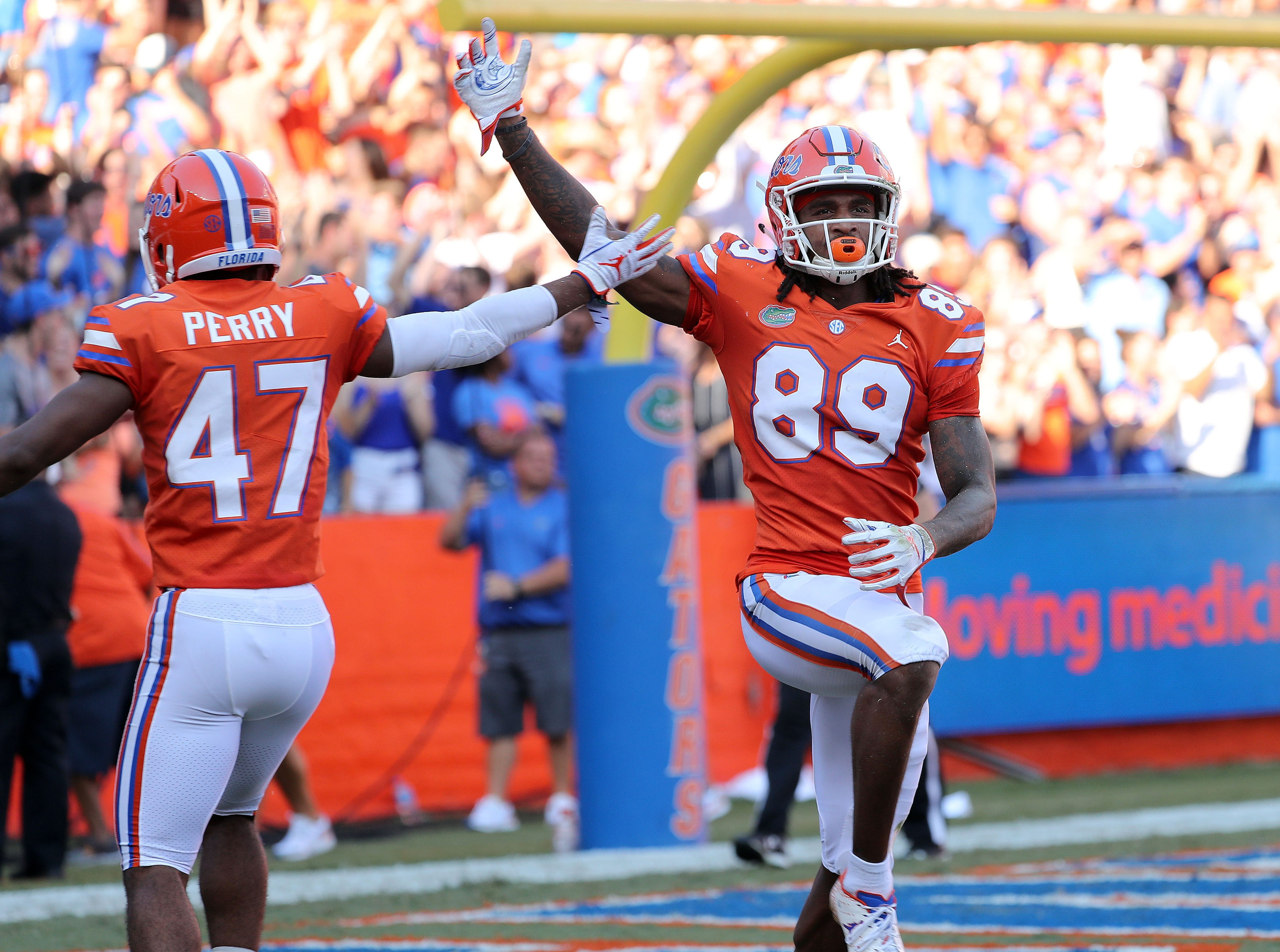 Sep 15, 2018; Gainesville, FL, USA; Florida Gators wide receiver Tyrie Cleveland (89) celebrates as he recovered the block punt for a touchdown against the Colorado State Rams during the second quarter at Ben Hill Griffin Stadium. Mandatory Credit: Kim Klement-USA TODAY Sports