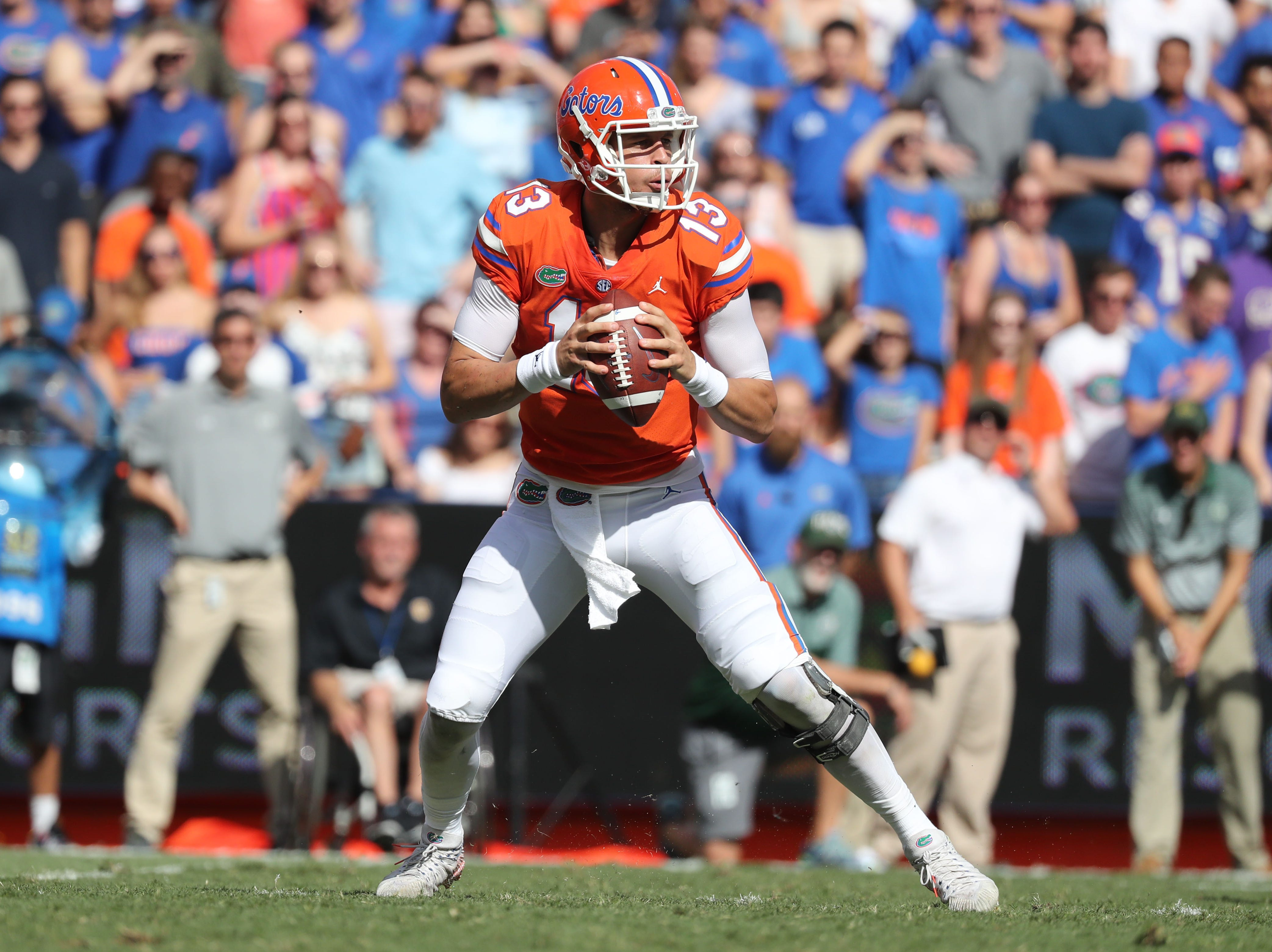 Sep 15, 2018; Gainesville, FL, USA; Florida Gators quarterback Feleipe Franks (13) drops back against the Colorado State Rams during the first quarter at Ben Hill Griffin Stadium. Mandatory Credit: Kim Klement-USA TODAY Sports