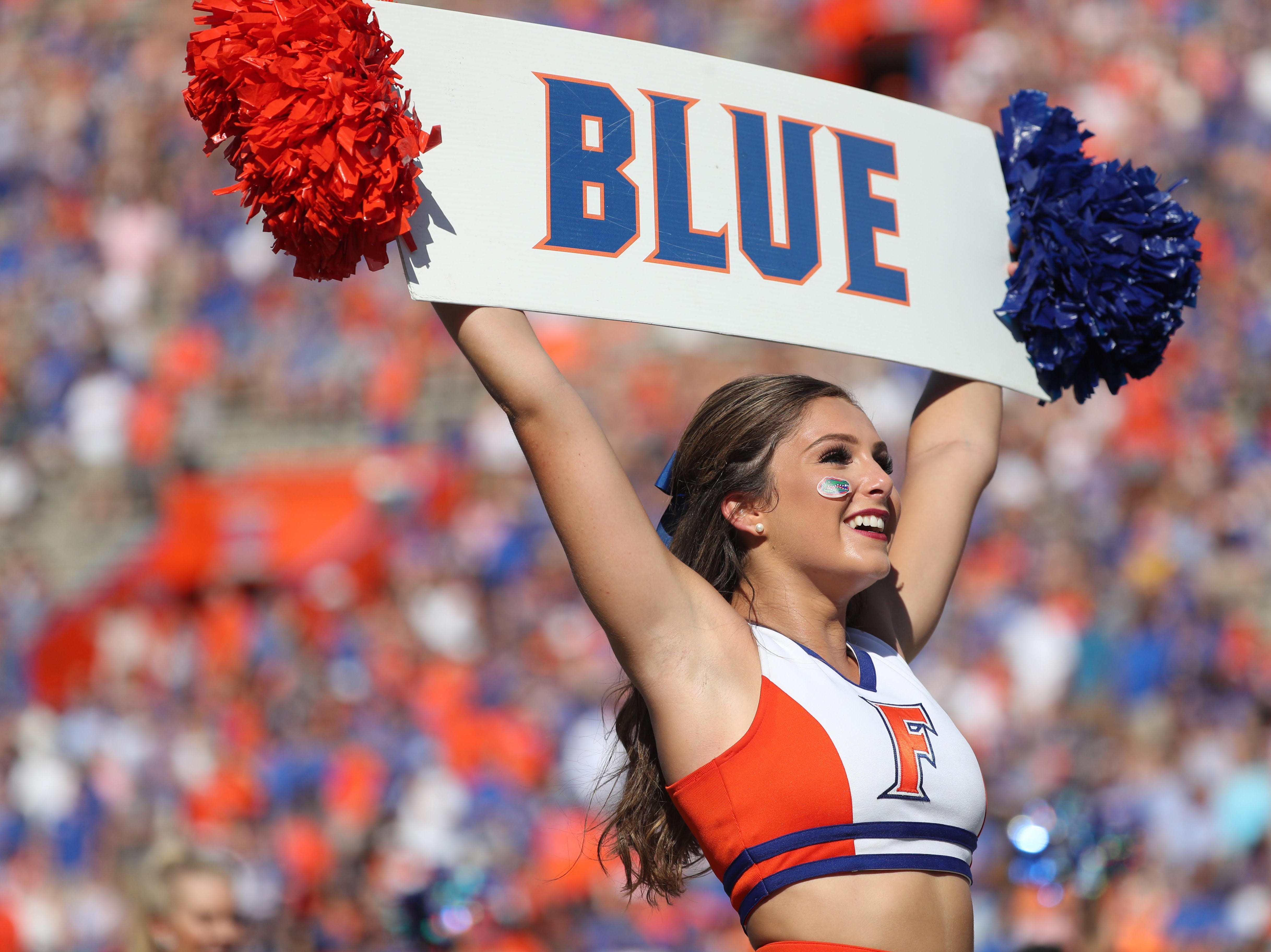Sep 15, 2018; Gainesville, FL, USA; Florida Gators cheerleader performs during the first quarter against the Colorado State Rams at Ben Hill Griffin Stadium. Mandatory Credit: Kim Klement-USA TODAY Sports