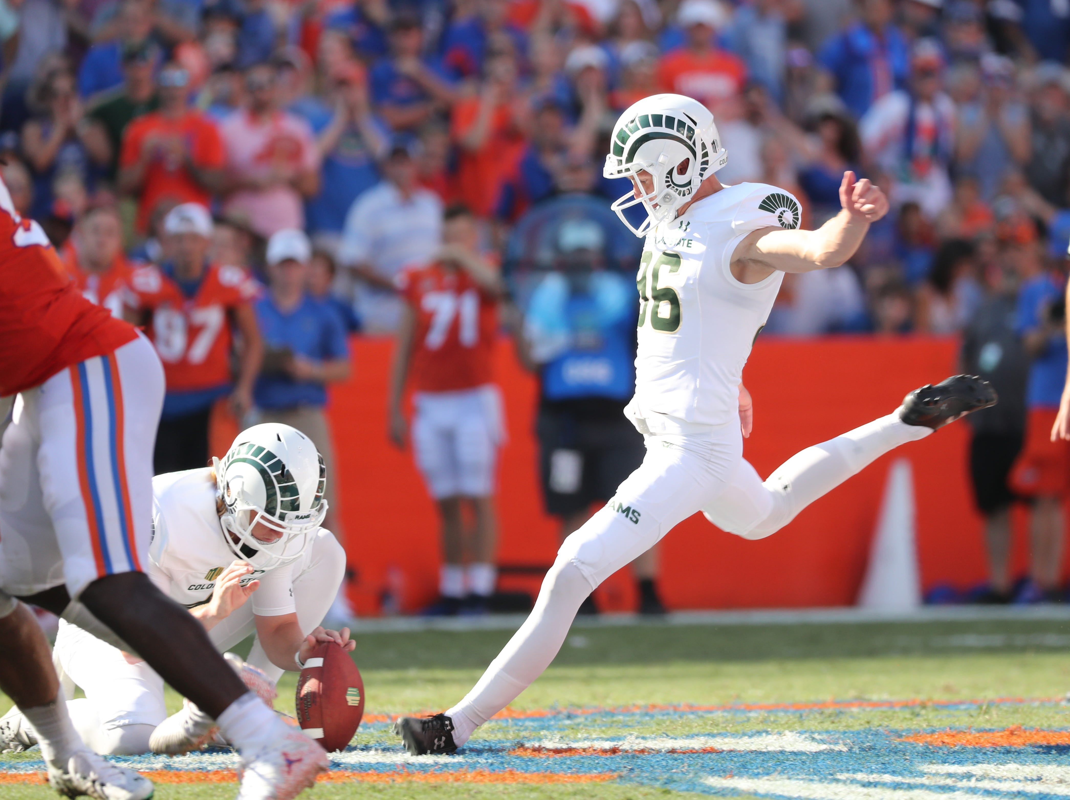 Sep 15, 2018; Gainesville, FL, USA; Colorado State Rams place kicker Wyatt Bryan (96) misses a 53 yard field goal during the second quarter against the Florida Gators at Ben Hill Griffin Stadium. Mandatory Credit: Kim Klement-USA TODAY Sports