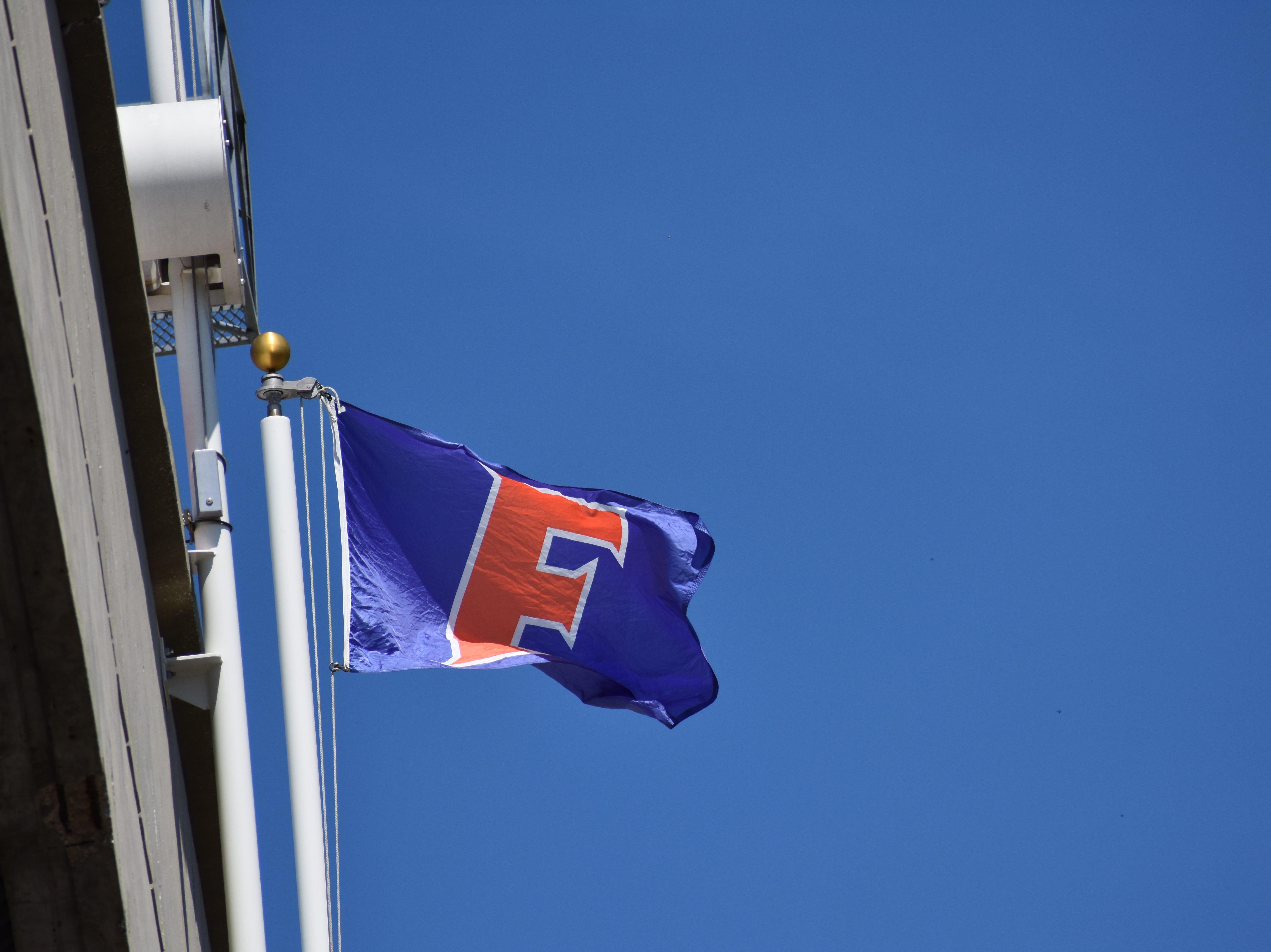 A Florida flag flies outside Ben Hill Griffin Stadium.