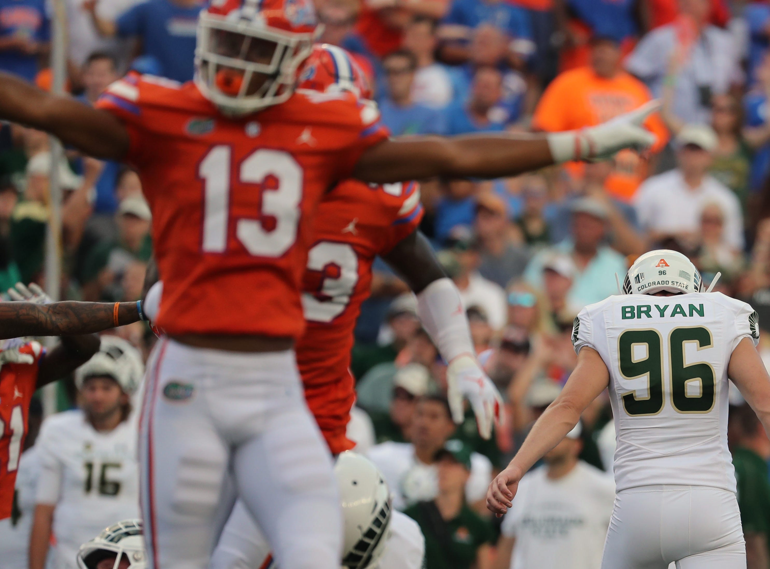 Sep 15, 2018; Gainesville, FL, USA; Colorado State Rams place kicker Wyatt Bryan (96) misses  field goal during the first quarter against the Florida Gators at Ben Hill Griffin Stadium. Mandatory Credit: Kim Klement-USA TODAY Sports