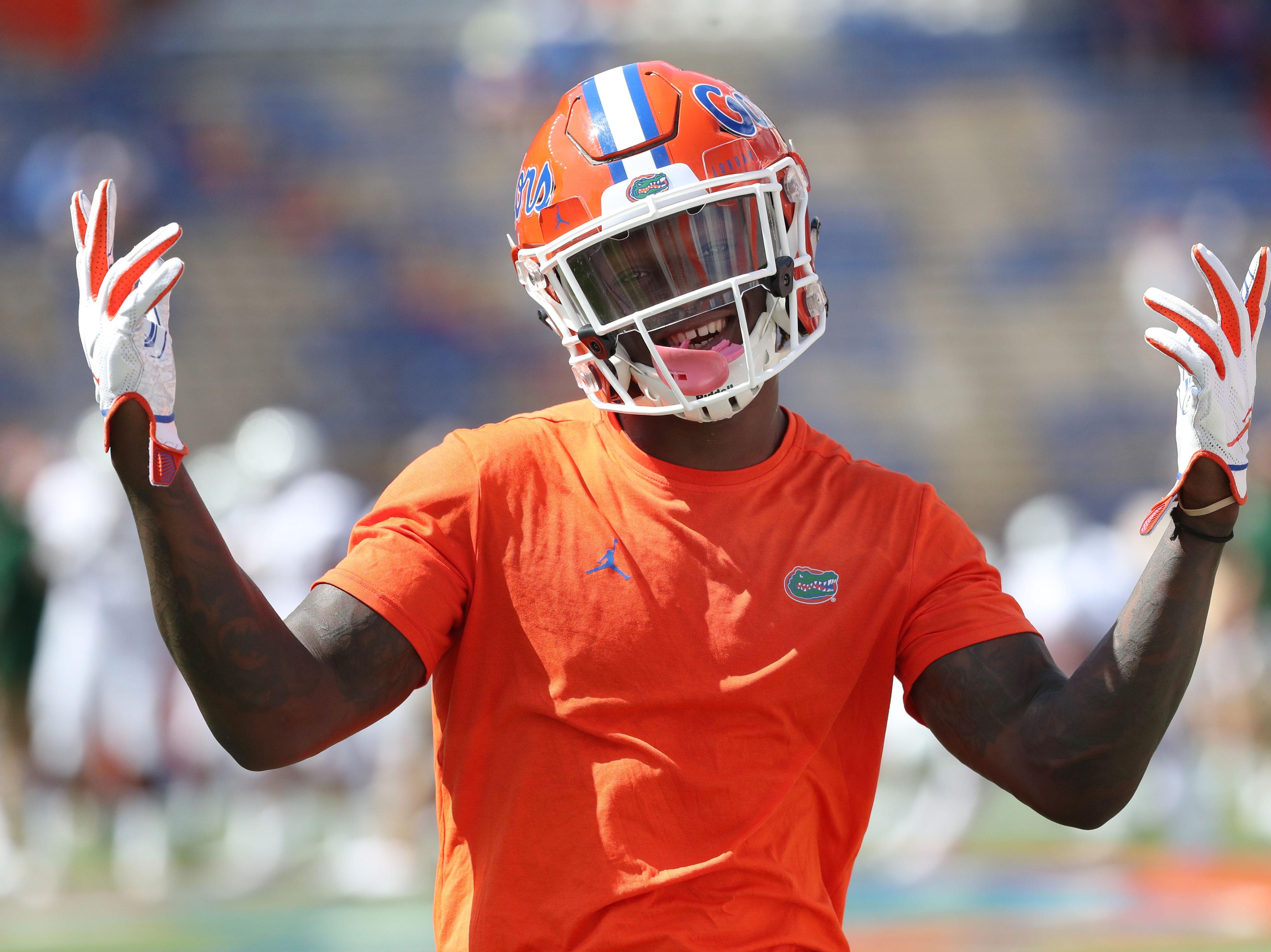 Sep 15, 2018; Gainesville, FL, USA; Florida Gators running back Kadarius Toney (4) works out prior to the game against the Colorado State Rams at Ben Hill Griffin Stadium. Mandatory Credit: Kim Klement-USA TODAY Sports