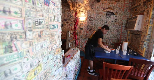 He Has Worked At Cantina Captiva For Nine Years Last Month Some Of The Famous Dollar Bills That Line S Walls