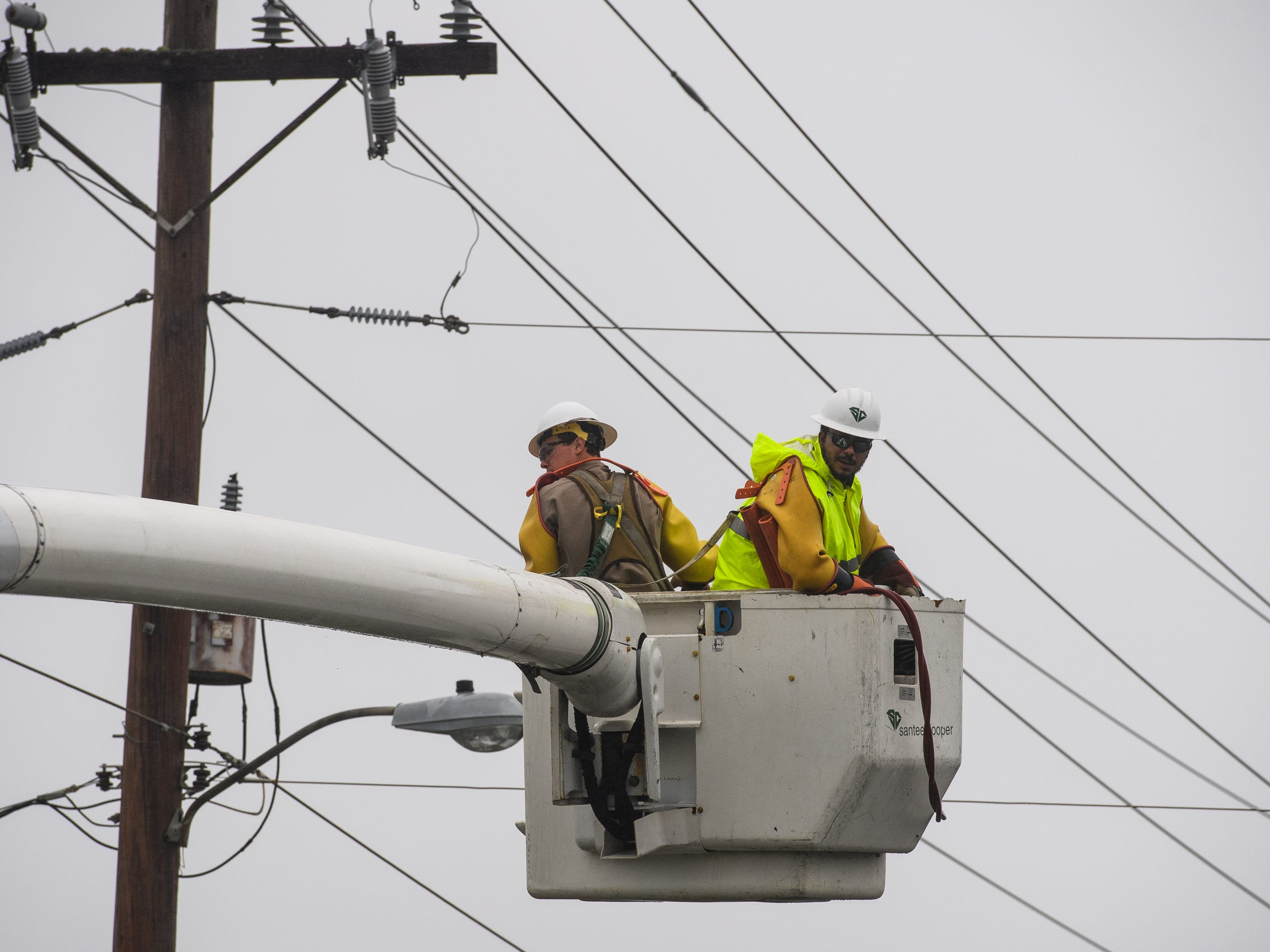 Crews begin restoring power to sections of North Myrtle Beach on Saturday, Sept. 15, 2018.