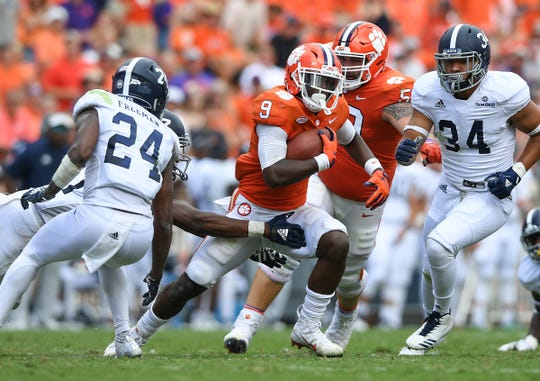 Clemson running back Travis Etienne (9) carries against Georgia Southern during the 2nd quarter Saturday, September 15, 2018, at Clemson's Memorial Stadium.