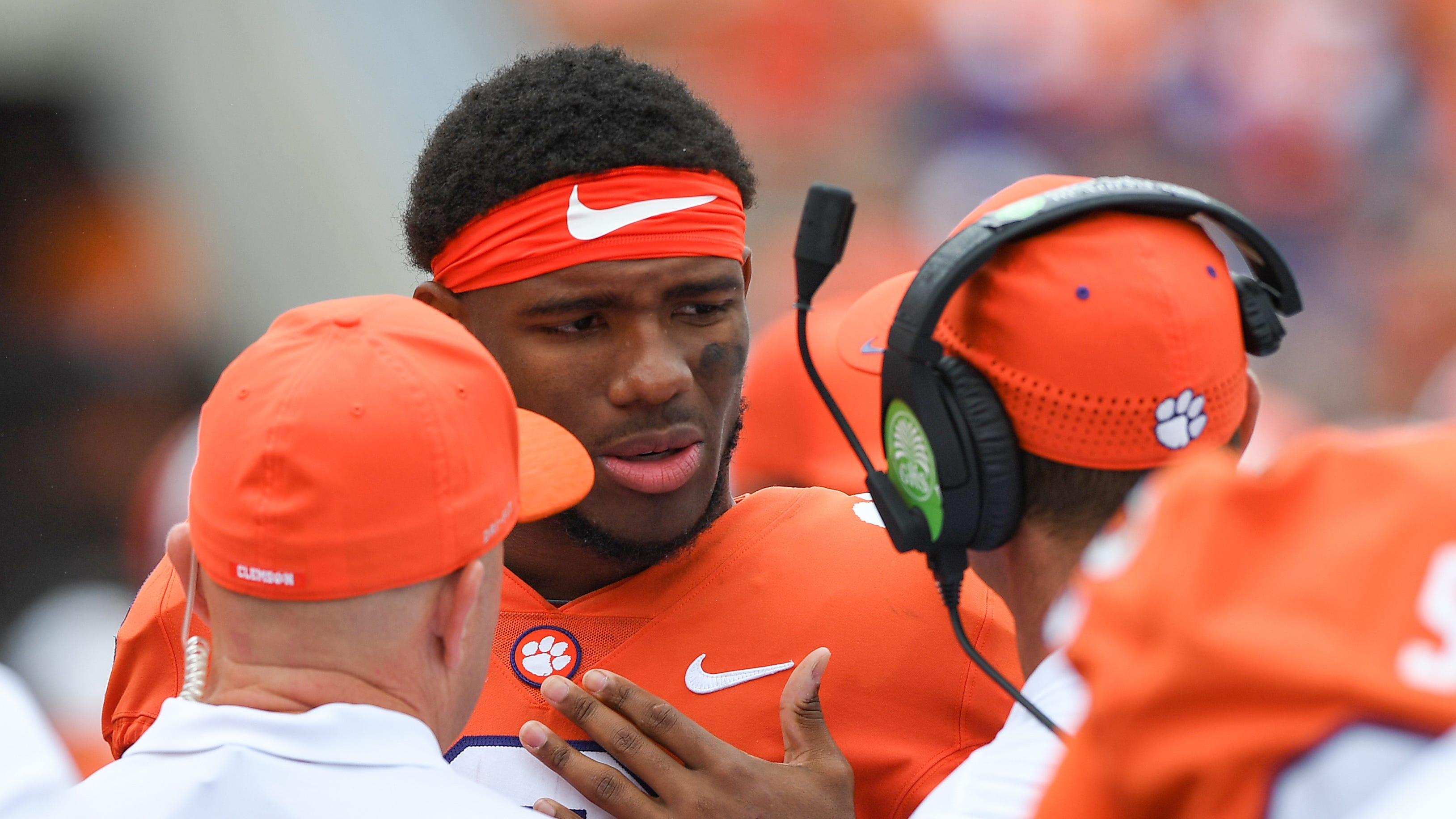 Clemson quarterback Kelly Bryant (2) talks with head coach Dabo Swinney after returning to the bench from the locker room during the 3rd quarter Saturday, September 15, 2018, at Clemson's Memorial Stadium.
