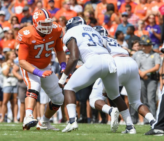 Clemson offensive lineman Mitch Hyatt (75) plays against Georgia Southern during the 1st quarter Saturday, September 15, 2018, at Clemson's Memorial Stadium.