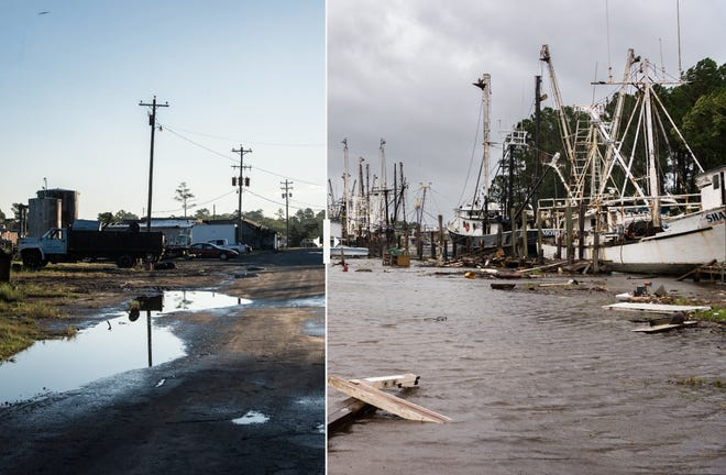 Photos from Swan Quarter, N.C. before and after Hurricane Florence made landfall in Sept. 2018 show just how much of an impact the storm had on areas near the Outer Banks.