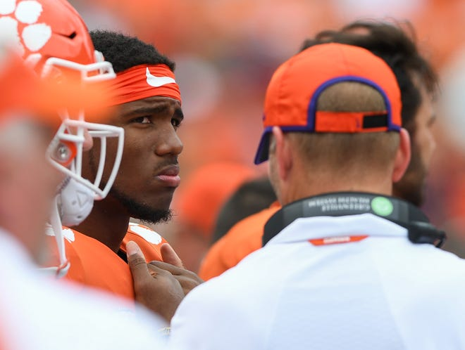 Clemson quarterback Kelly Bryant (2) stands on the sidelines after being injured Saturday, September 15, 2018, at Clemson's Memorial Stadium.