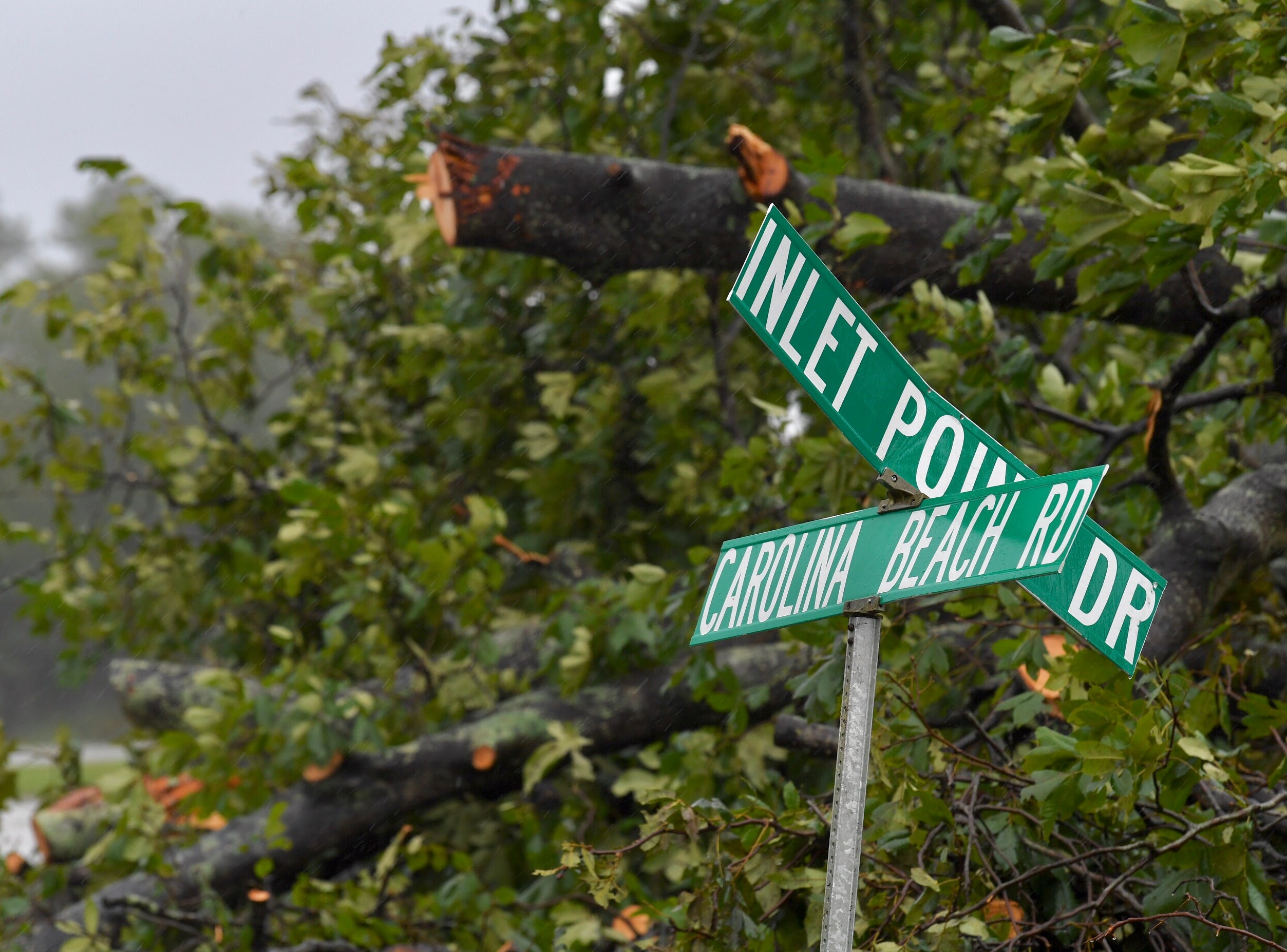 A street sign down near Carolina Beach in Wilmington, N.C. on Saturday, Sept. 15, 2018.