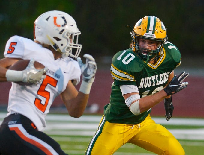 CMR's Tucker Greenwell closes in for a tackle during Friday's football game against Billings Senior at Memorial Stadium.