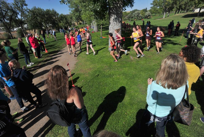 Small School/JV race during the Great Falls Invitational Cross Country Meet, Friday at Anaconda Hills Golf Course, September 14, 2018.