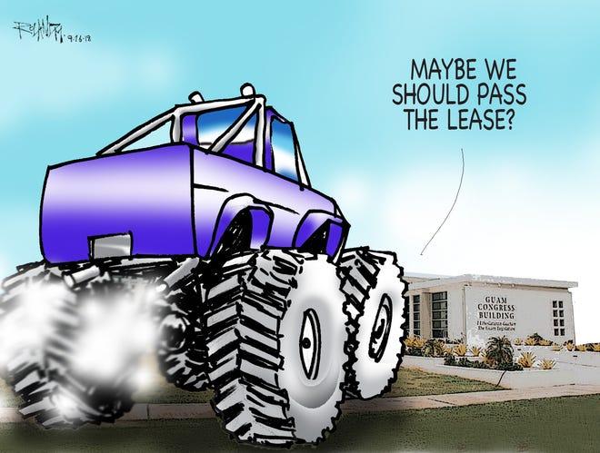 Sunday cartoon on land trust lease for raceway
