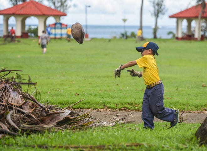 Cub Scout Alex Bedoya III, 7, adds a fallen coconut to a pile of debris during a cleanup conducted by Sea Scout and Boy Scout of America Chamorro District members at the Nimitz Beach Park in Agat on Saturday, Sept. 15, 2018.