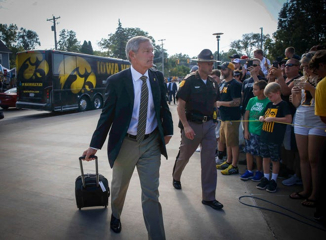 Iowa head football coach Kirk Ferentz makes his way into the stadium prior to kickoff against Northern Iowa on Saturday, Sept. 15, 2018, at Kinnick Stadium in Iowa City.