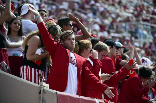 The Indiana Hoosiers student section cheers before a Ball State third down play during the game against Ball State at Memorial Stadium in Bloomington, Ind., on Saturday, Sept. 15, 2018.