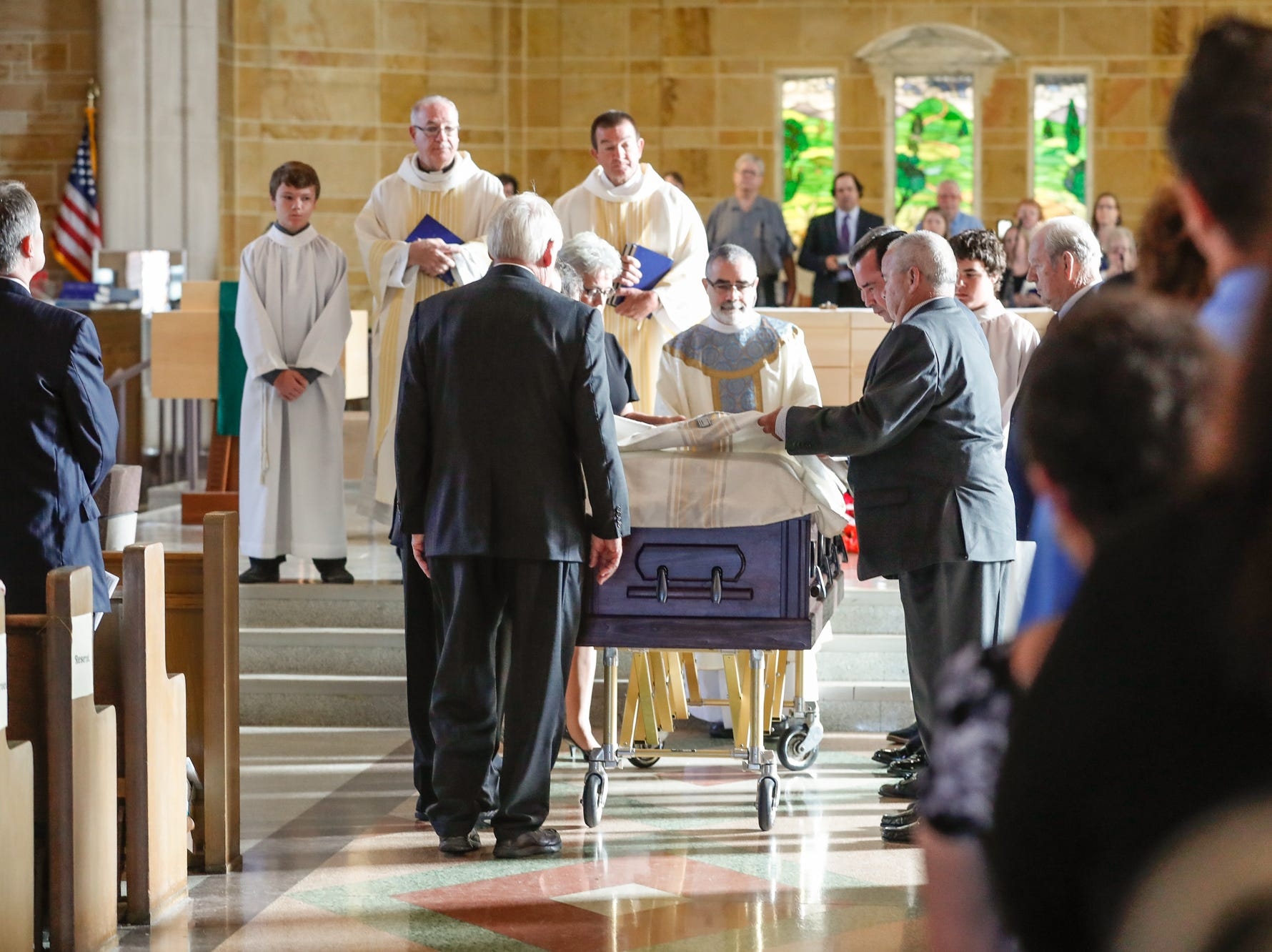 Longtime public servant Mary Moriarty Adams is remembered during the Mass of Christian Burial for held at Little Flower Catholic Church in Indianapolis on Saturday, Sept. 15, 2018.