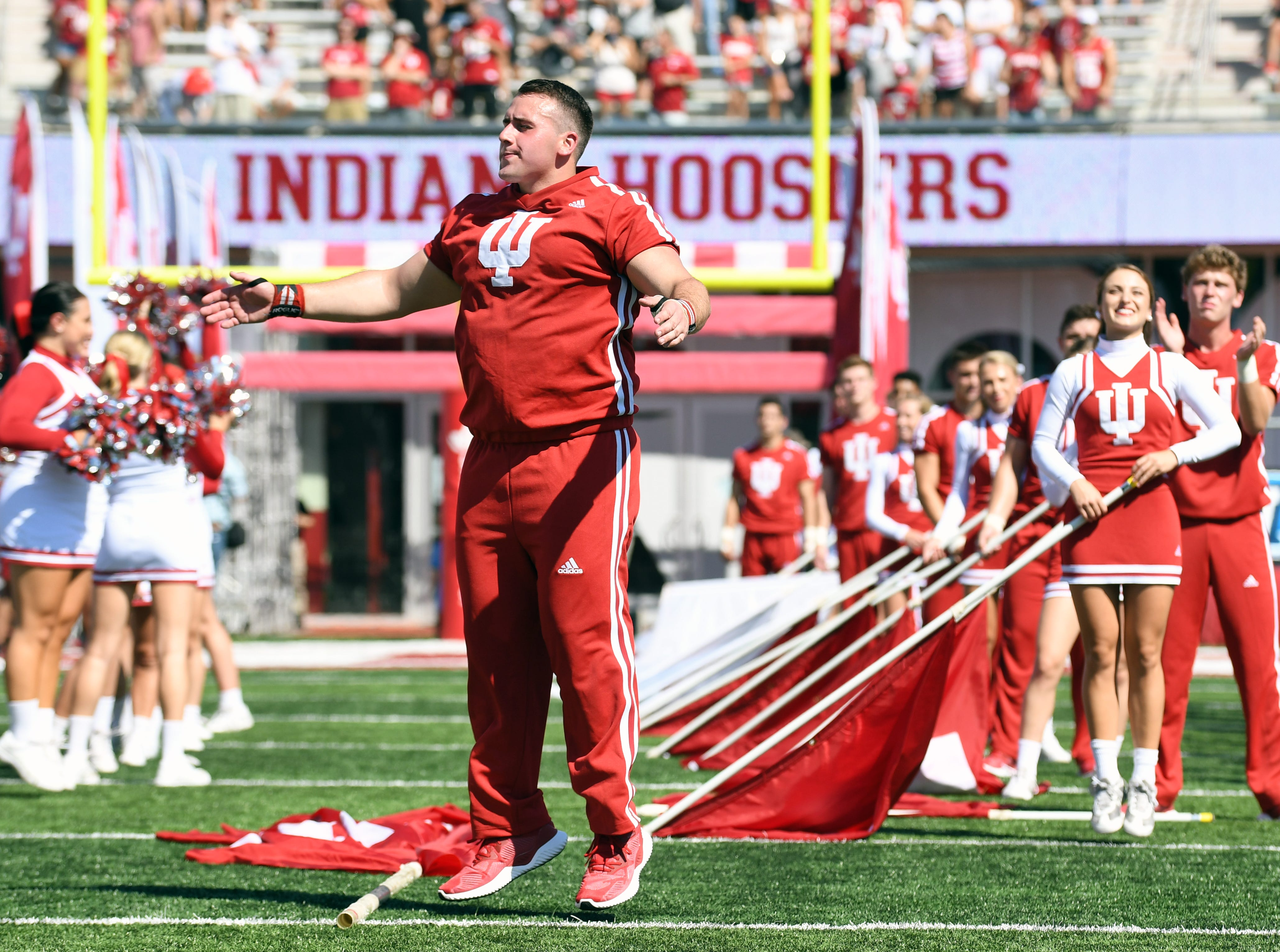 Indiana Hoosiers cheerleaders hype up the crowd prior to the start of the game against Ball State at Memorial Stadium in Bloomington, Ind., on Saturday, Sept. 15, 2018.