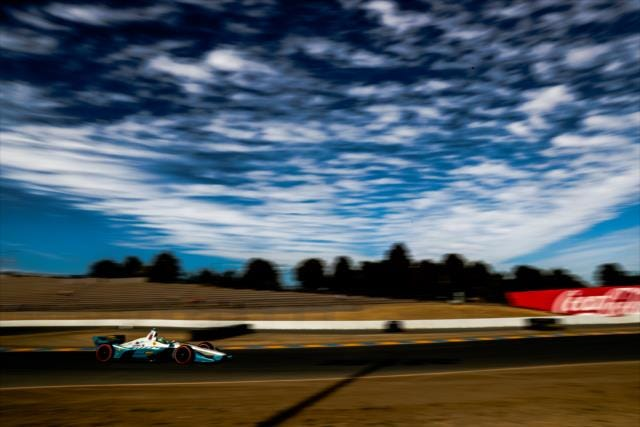 Harding Racing rookie and Indy Lights champion Pato O'Ward tackles a section of track Friday at Sonoma Raceway.