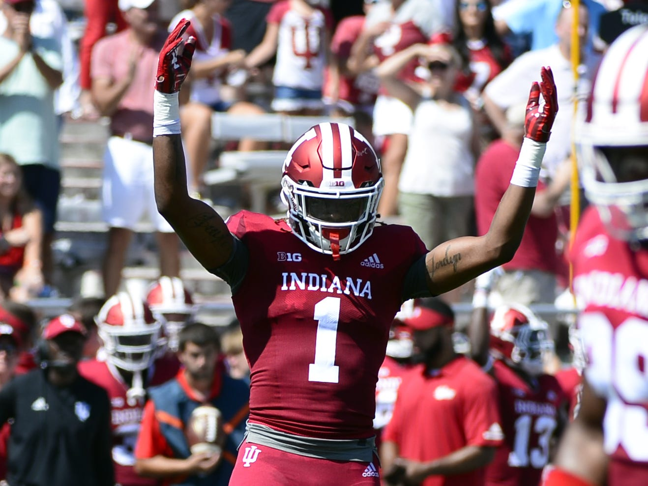 Indiana Hoosiers defensive back Juwan Burgess (1) hypes up the crowd during the game against Ball State at Memorial Stadium in Bloomington, Ind., on Saturday, Sept. 15, 2018.