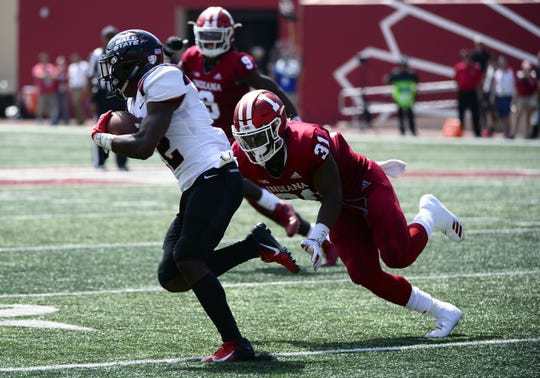 Indiana Hoosiers defensive back Bryant Fitzgerald (31) makes a tackle during the game against Ball State at Memorial Stadium in Bloomington, Ind., on Saturday, Sept. 15, 2018.