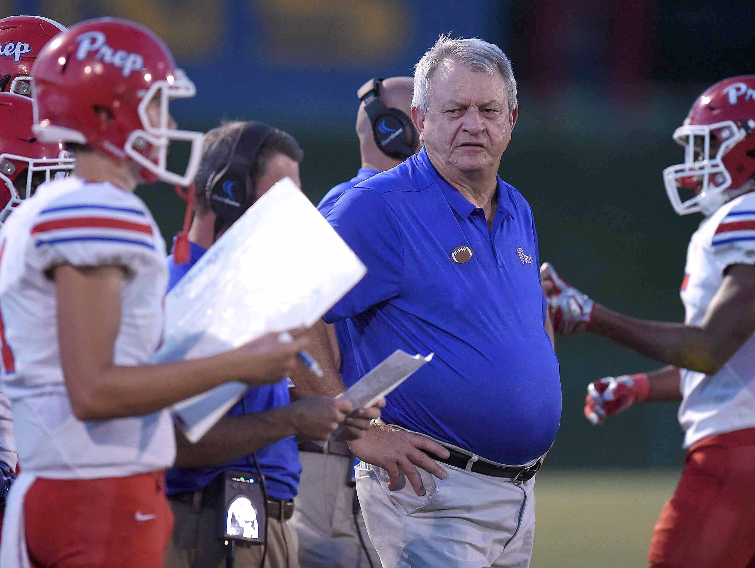Prep head coach Ricky Black monitors the Patriots sideline on Friday, September 14, 2018, at St. Joseph Catholic School in Madison, Miss.
