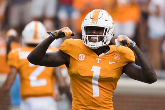 Tennessee wide receiver Marquez Callaway (1) celebrates after Tennessee scores in the second half of a game between UT and UTEP in Neyland Stadium Sept. 15, 2018. UT defeated UTEP 24-0.