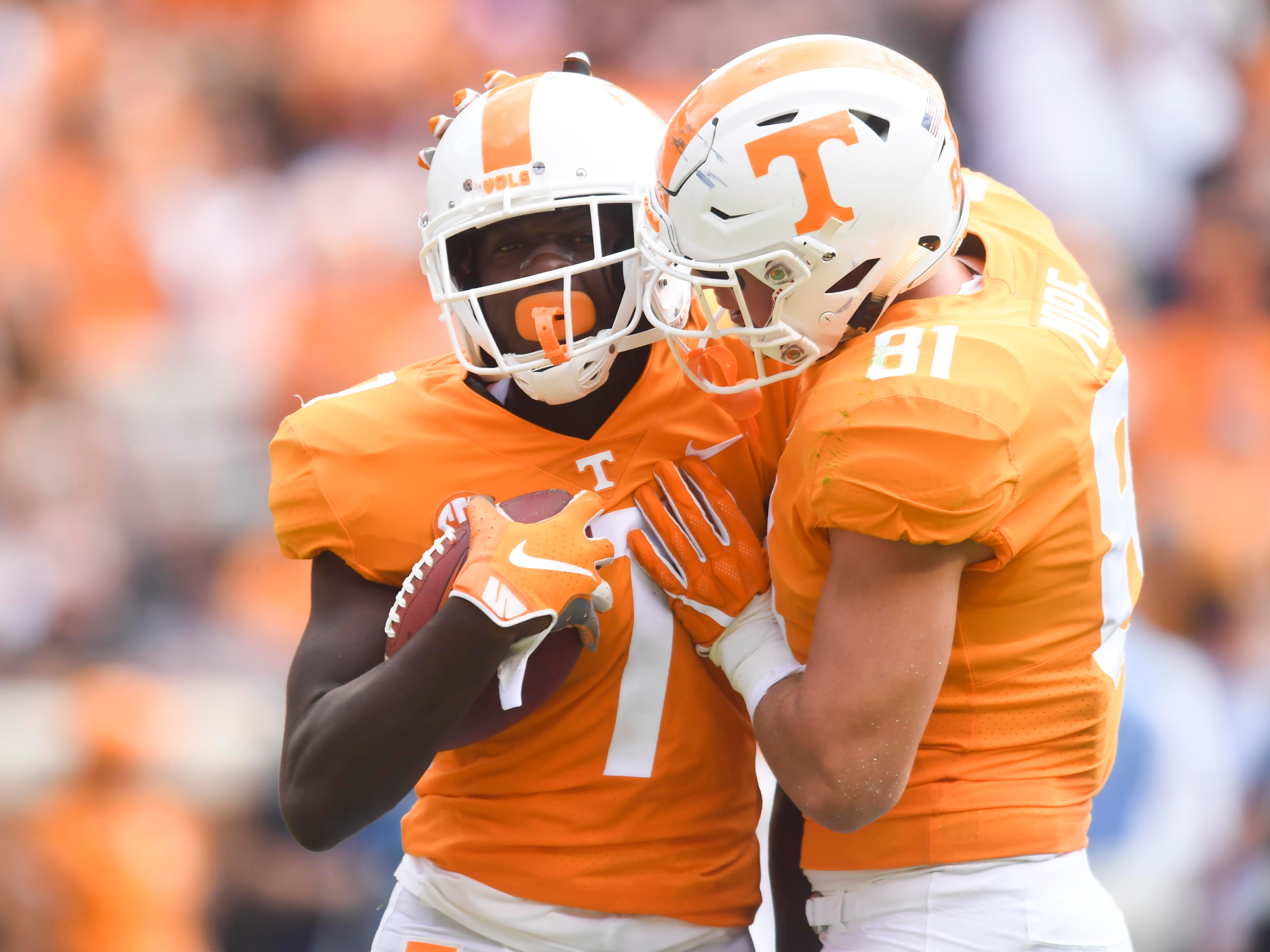 Tennessee wide receiver Brandon Johnson (7) is congratulated by tight end Austin Pope (81) after Johnson made a reception during the game against UTEP on Saturday, September 15, 2018.
