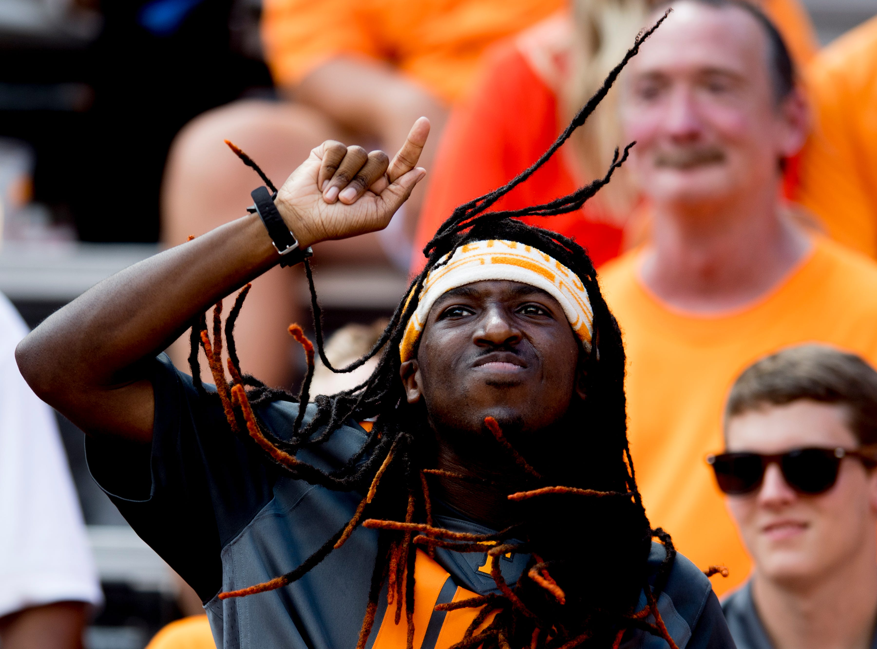 A Vol fan cheers from the stands during a game between Tennessee and UTEP at Neyland Stadium in Knoxville, Tennessee on Saturday, September 15, 2018.