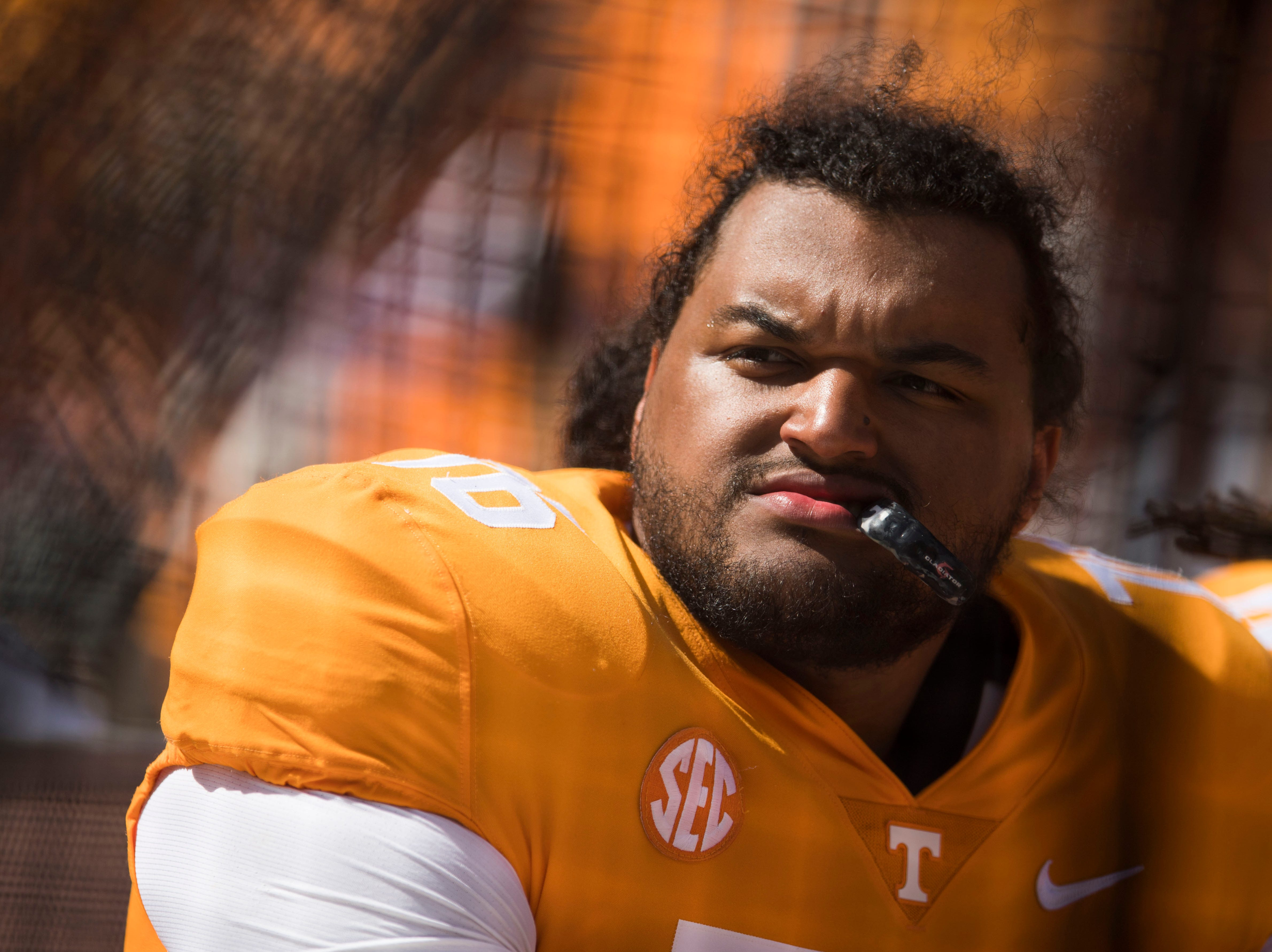 Tennessee offensive lineman Chance Hall (76) sits on the bench during the second half of a game between UT and UTEP in Neyland Stadium Sept. 15, 2018.