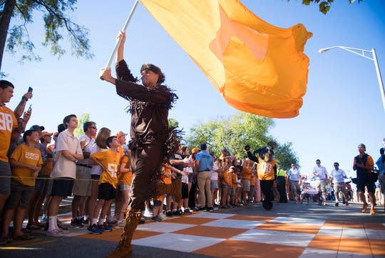 The Volunteer runs in the Vol Walk outside Neyland Stadium before a game between University of Tennessee and the University of Texas at El Paso Saturday, Sept. 15, 2018.